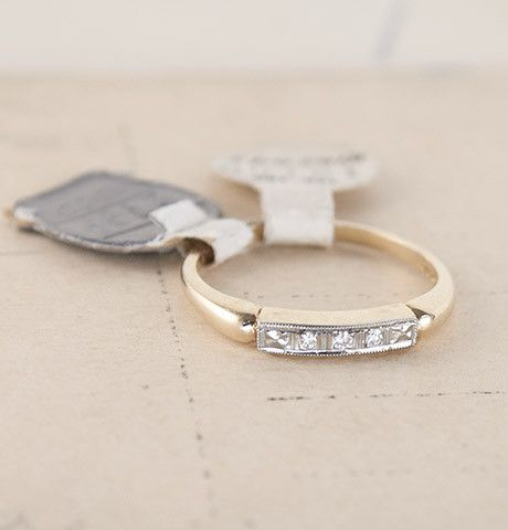 Two-Tone Wedding Band with Diamond Chips and Orange Blossom Engraving, $750.00