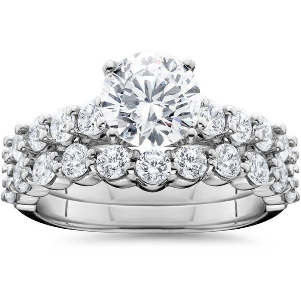 Bliss Diamond 2 1/15CT Diamond Engagement Wedding Ring Set 14K White ($999) ❤ liked on Polyvore featuring jewelry, rings, g, jewelry & watches, white engagement rings, 14 karat white gold ring, diamond rings, band jewelry and band rings