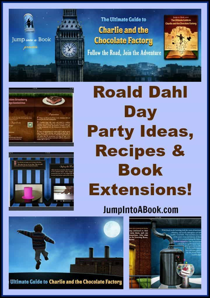 Celebrate Roald Dahl day all year long with these Roald Dahl Day Party Ideas, Recipes and Book Activities inspired by Charlie and the Chocolate Factory.