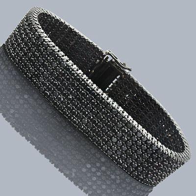 Hip+Hop+Jewelry+10K+6+Row+Black+Diamond+Bracelet+30ct