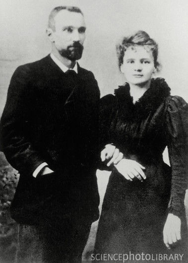 Pierre and Marie Curie in year of marriage, 1895