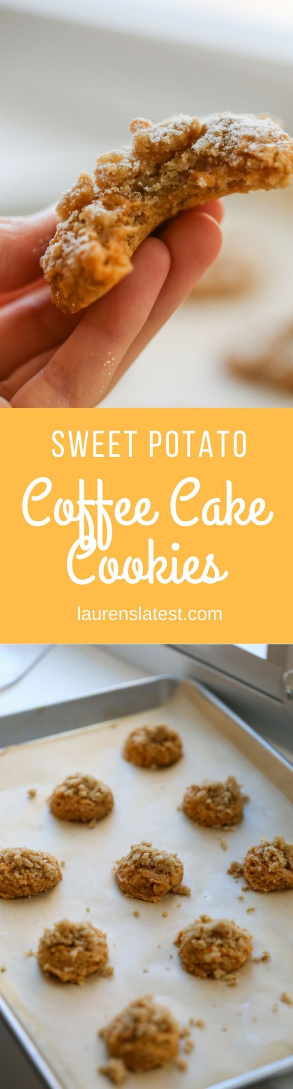 Sweet Potato Coffee Cake Cookies! Soft and lightly spiced cookies make with mashed sweet potato, topped with homemade streusel and powdered sugar. Perfect dessert for Fall!