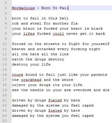 Mordacious - Born To Fail - [lyrics]