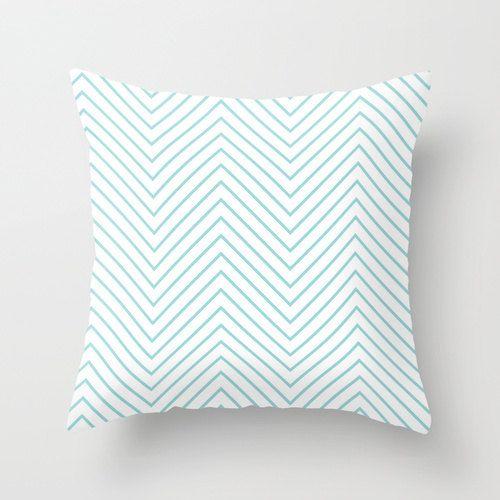 Velveteen Aqua Light Chevron Pillow - Aqua Throw Pillow - Housewares - Home Decor - Housewarming Gift - Girls Room Decor - Teen Room Decor