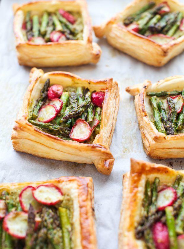 Ricotta & Pesto-filled Asparagus and Radish Tarts || Simple Bites
