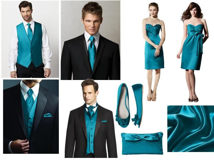 Oasis Bridesmaid Dress, Vest and Tie : PANTONE WEDDING Styleboard : The Dessy Group