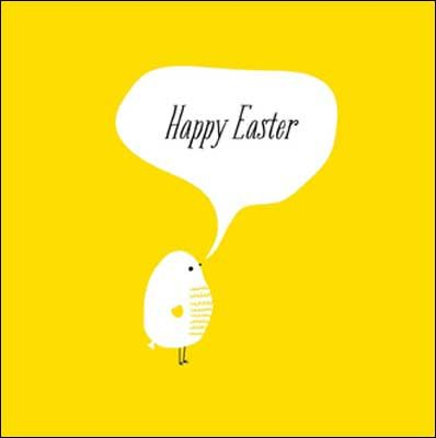 Chick #Easter card, finished with glitter varnish. The card is left blank inside for your own greeting.