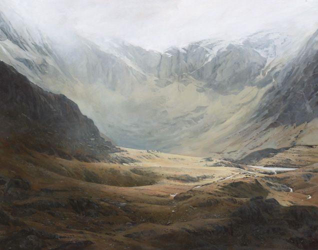 Sunlight in the Cwm, an original oil painting by Rob Piercy