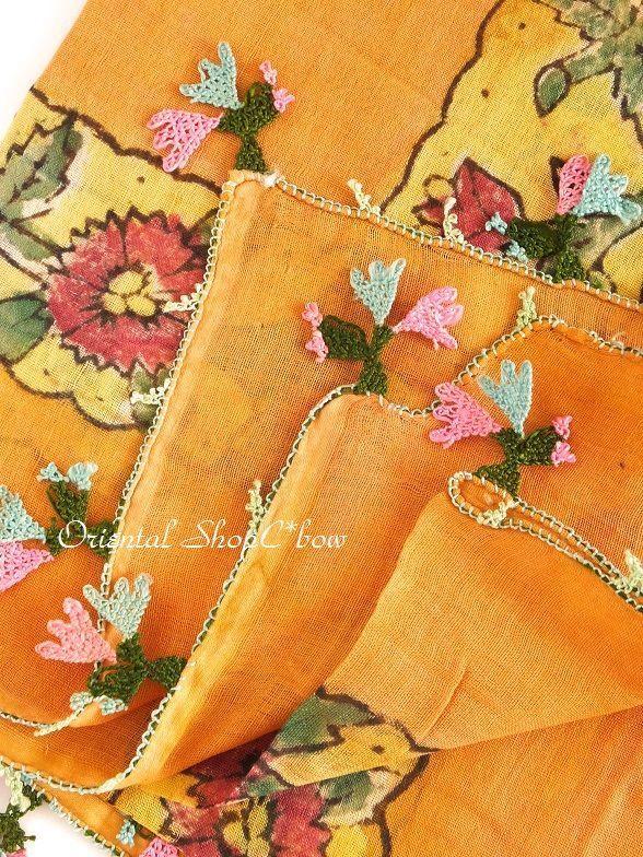 画像3: ブルサ|木版アンティークオヤスカーフ(薄い)・シルク糸イーネオヤ|テラコッタ|BR7