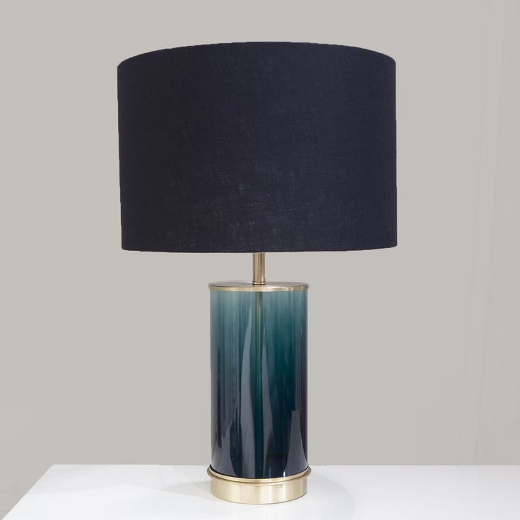 Teal glass metal table lamp teal glasslamp champagnelamp contemporary