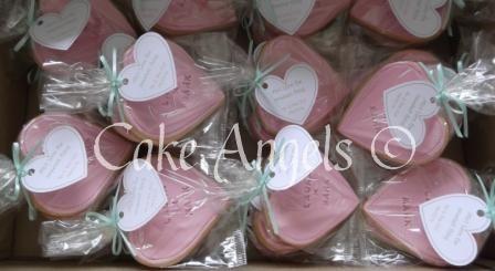 Pink Heart Wedding Cookies