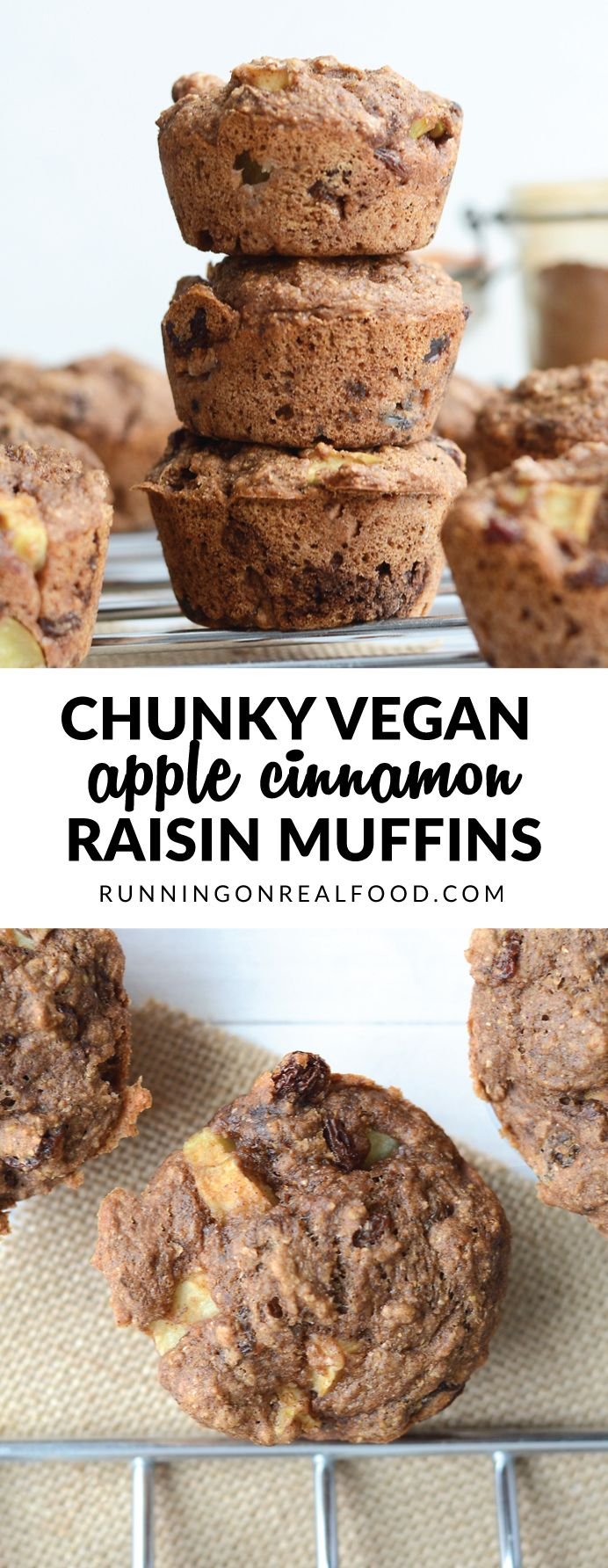 Big chunks of apple, sweet little raisins and all the cinnamon flavour! Low in fat, nice and fluffy...the perfect, sweet vegan snack or dessert! Try them warm from the oven, smothered in almond or coconut butter. So good!!   Recipe: http://runningonrealfood.com/vegan-apple-cinnamon-muffins/