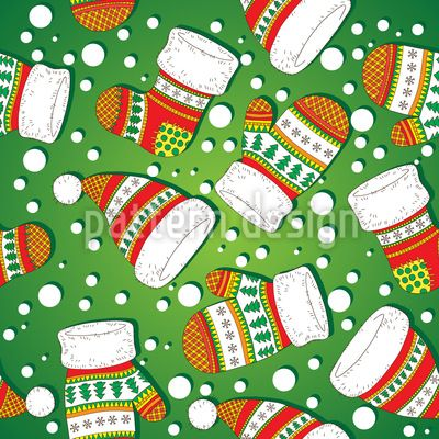 Christmas Knitwear - Seamless pattern for Christmas with knitted socks, mittens and beanies.