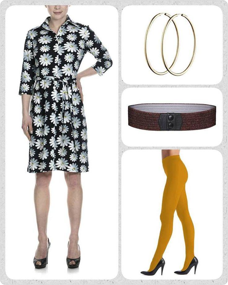 Sikke en skøn fredag at vågne op til med høj sol 🌞 Det fik mig til at vælge gul som dagens farve💛🌻🌺  Hop i den smukke Winnie kjole med Daisy blomster, tilsæt de cool (og meget populære) sennepsgule strømpebukser fra Oroblu, et kobber-glimmer-farvet Waist elastikbælte i taljen, og som prikken over i'et et par guld hoops i ørerne. NICE ikke?