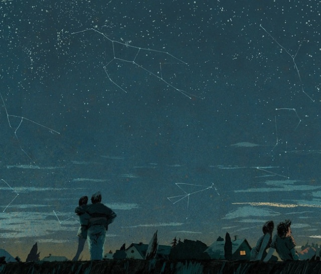 Series of drawings of the night sky by Belgian artist Anton van Hertbruggen.