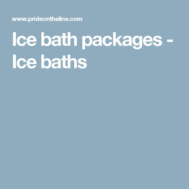 Ice bath packages - Ice baths