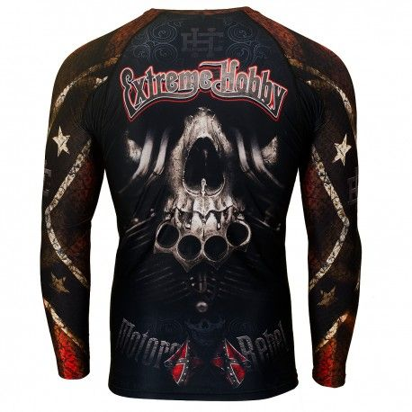 Longsleeve rashguard MOTO REBEL. Color: black. Excellent quality rashguard HOBBY EXTREME is ideal for hard training people who appreciate the highest class of products. Made of high quality material, which, thanks to its flexibility, clings to the body. Sophisticated thermoregulation system by which the body is dry and the muscles warmed up. Sublimated logos (will not scratch).