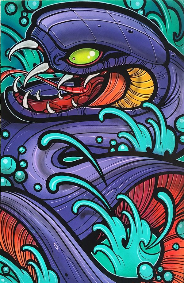 """24"""" x 36"""" acrylic and spray paint on gallery-wrapped Canvas. This is a one of one, original piece made by David Tevenal. Will ship boxed ..."""
