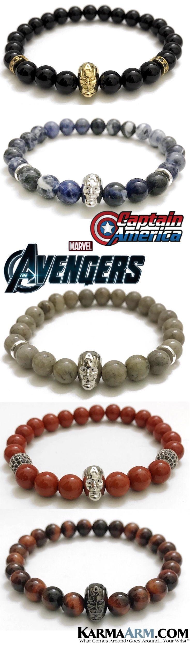 CAPTAIN AMERICA Bracelets | Marvel Comics Avengers - Steve Rogers - Iron Man Jewelry. Superhero CosPlay Bracelets & Gifts For Him. Natural Gemstone | Reiki Healing Luxury Jewelry for men. #Avengers #AvengersInfinity #Infinity #BlackPanther #T'Challa #Marvel #MarvelComics #IronMan  #TonyStark #CaptainAmerica #SteveRogers #Spiderman #PeterParker #Bracelets #Fanboy #Jewelry. #Comic-Con #Superhero #Comics #Mens