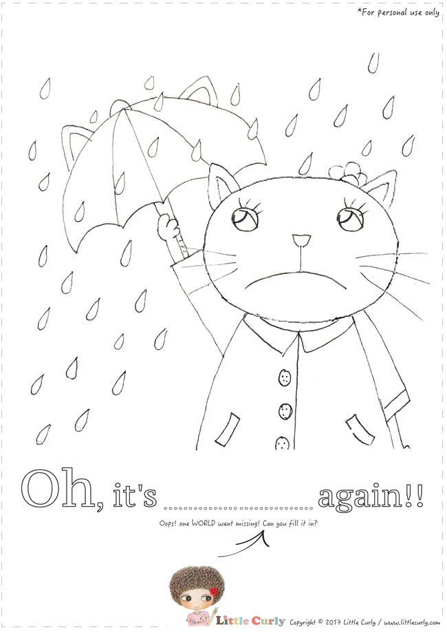 Little Curly's colouring pages -Oh, it's raingin again!
