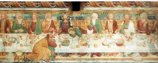 """CRISTOFORO E NICOLAO DA SEREGNO - ULTIMA CENA - Arbedo San Paolo - Davanti ad ogni commensale un pezzo di pane, all'epoca detto """"quadra"""" che faceva le veci del piatto sul quale era depositato il cibo, preso dai piatti comuni e portato alla bocca con le mani."""