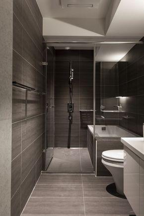 Porta de vidro separando o chuveiro. серый небольшой санузел - Поиск в Google