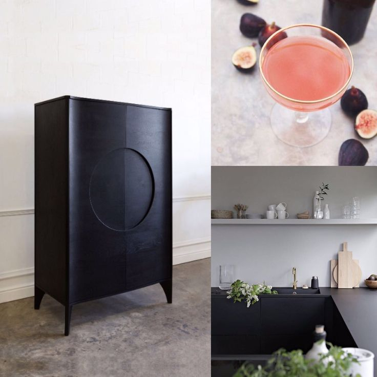 Andrew Dominic Furniture. In ebonised American oak, the Noah Drinks Cabinet has a strong, yet quiet presence, with its central circular detail reminiscent of ancient Eastern furniture. Each Noah Cabinet is meticulously made to order in solid wood that is sourced from sustainably managed forests in North America or Europe. Kitchen by stylizimo blog featured in this mood board.