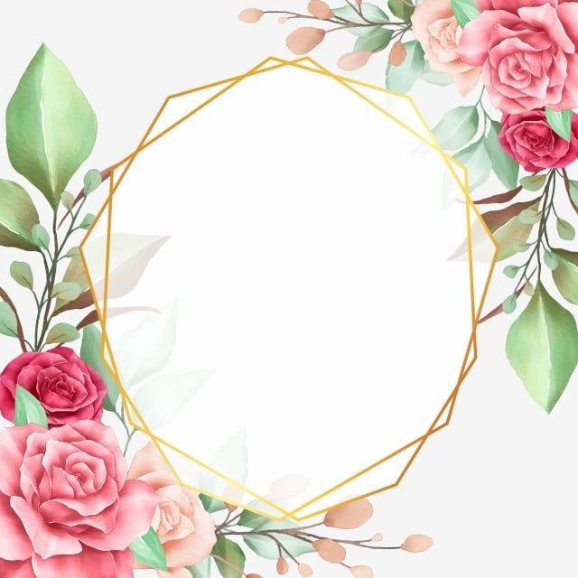 Floral Border With Geometric Frame For Wedding Invitation Card Wedding Card Frames Floral Border Floral Wreaths Illustration