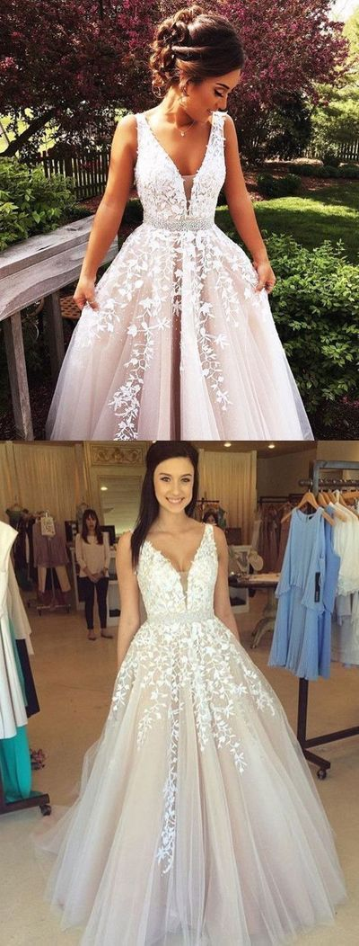 v neck prom dresses, white prom gowns, sleeveless prom dresses