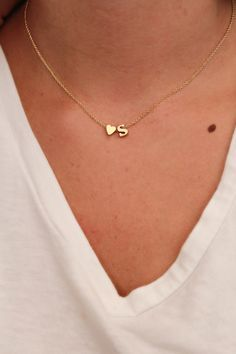 Dainty Lowercase Initial Necklace   Initial and Heart Necklace   Gold Initial Necklace   by keepingitchic on Etsy https://www.etsy.com/listing/202473939/dainty-lowercase-initial-necklace