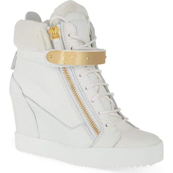 Zingarelli wedge high-top trainers (£635) ❤ liked on Polyvore featuring shoes, sneakers, heels, scarpe, white, wedges shoes, white hi top sneakers, white high tops, wedge heel sneakers and high top wedge sneakers