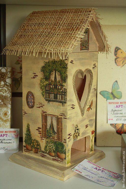 Купить Чайный домик - бежевый, чай, чайный домик, Декупаж, домик, окна, подарок, на кухню