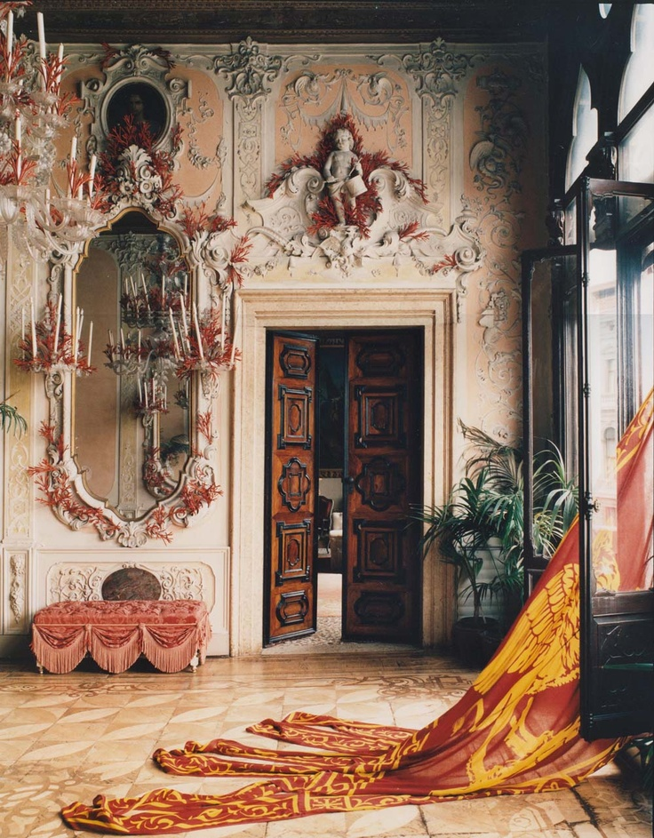 THE CORAL BALLROOM OF PALAZZO BRANDOLINI DECORATED BY DESIGN PARTNERS TONY DUQUETTE AND HUTTON Venice ItalyClassic InteriorInterior