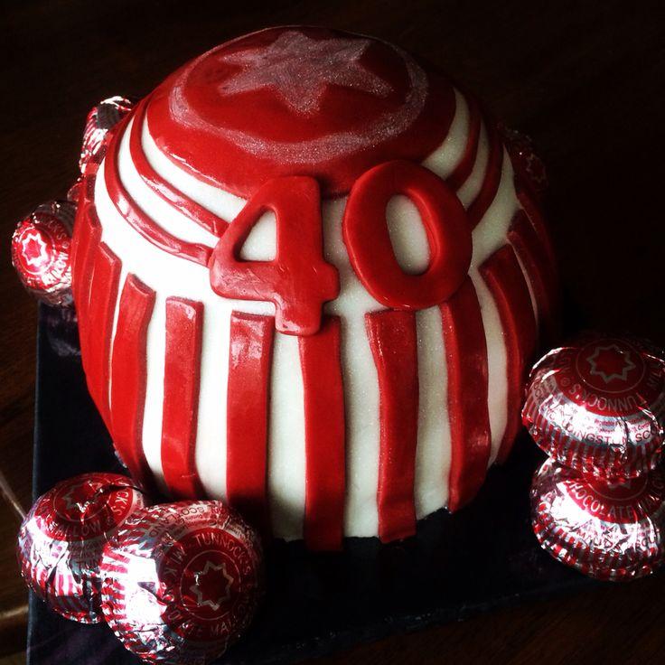 40th Birthday cake, chocolate cake with maple mallow filling. #homemade #tunnocks #teacake
