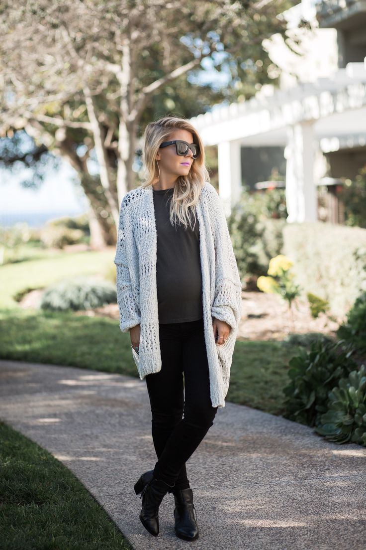 Lisa Allen wearing a distressed BP tee with a Free People Cardigan and Rebecca Minkoff Booties