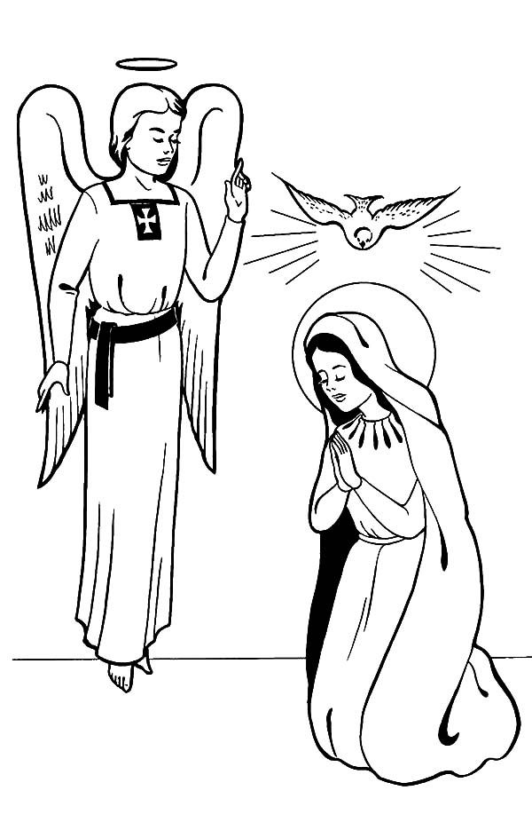 Angel Gabriel And Mary Coloring Page Angel Coloring Pages Angel