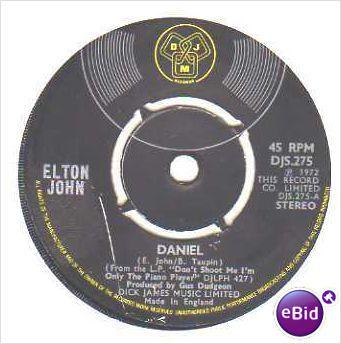 "Elton John - Daniel / Skyline pigeon 1972 7"" vinyl single record DJS 275 on eBid United Kingdom"