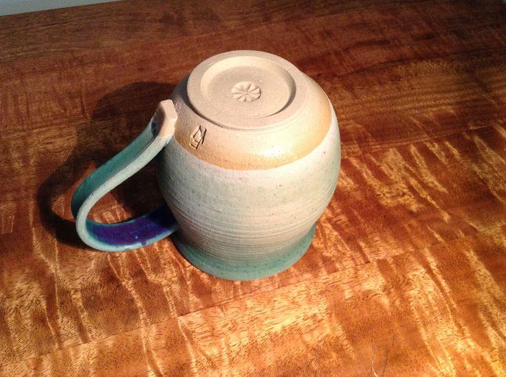 Oatmeal stoneware mug   Barium copper glaze fionawallaceceramics.com