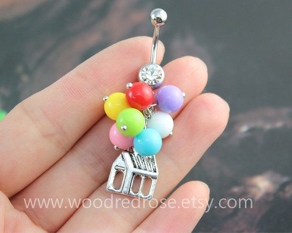 Balloon Belly Button Ring,Colorfull balloon Belly Button Ring, balloon Navel jewelry,friendship belly rings, Dangle Belly Ring
