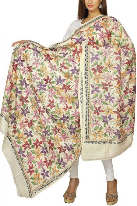 Cream Floral Kantha Stitch Tussar Silk Dupatta