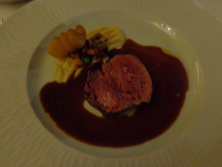 Roasted fillet of veal, white root vegetable purée, potato fondant, forest mushroom sauce @ Restaurace Bellevue