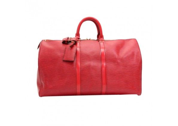 Vintage Louis Vuitton Keepall 45 Red Epi Leather Travel Bag