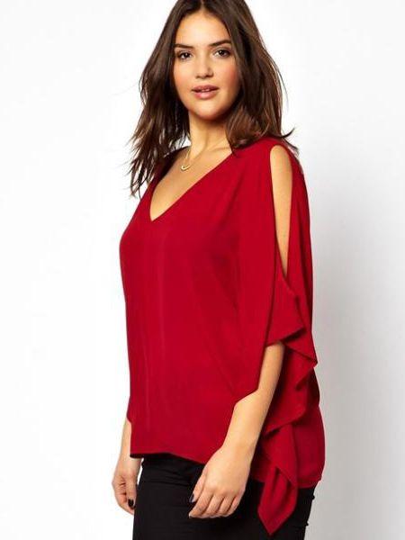 Loose T-shirt Blouse Bat Sleeve Curve Chiffon Plus Size Blouse