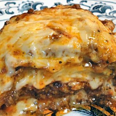 Meaty Eggplant Lasagna / Will cut back on the cheese. Slice and broil eggplant layer with ground beef, marinara and cheese, then bake.