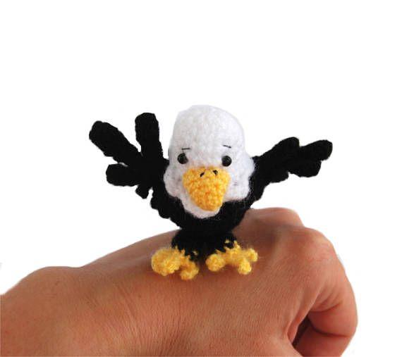 $23.54 #crochet #BALD #EAGLE, #white #headed #eagle #doll, #sea #eagle #amigurumi, #tiny #eagle #as #USA #national #bird, #flag #eagle, #gift for #4th #of #July, #bird #gift