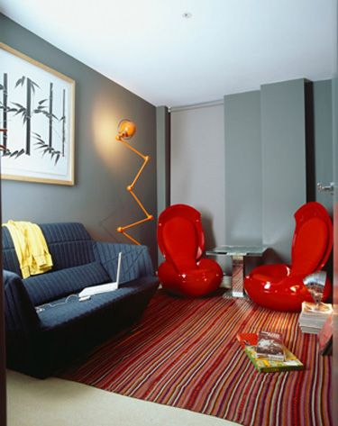 Funky Living Room With Modern Red Chairs