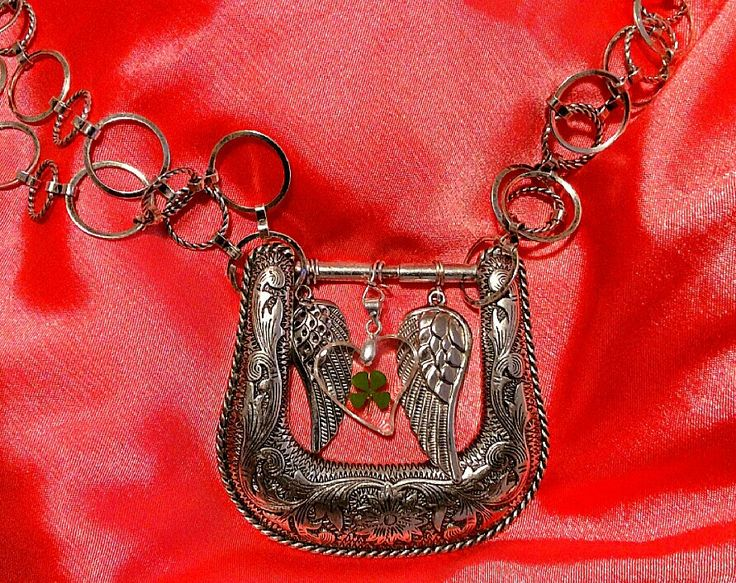 Repurposed belt buckle necklace created by Marybeth Miller