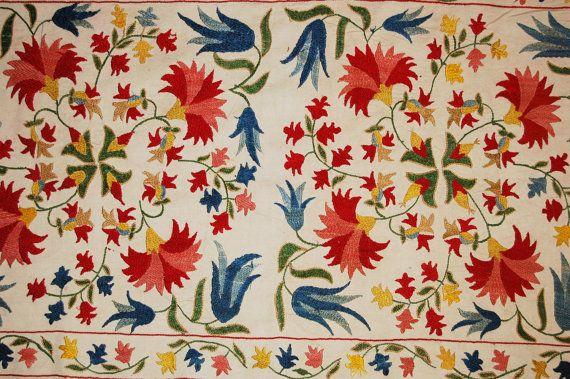 Uzbek Silk handmade embroidery small flowers by SunSilkFlowers
