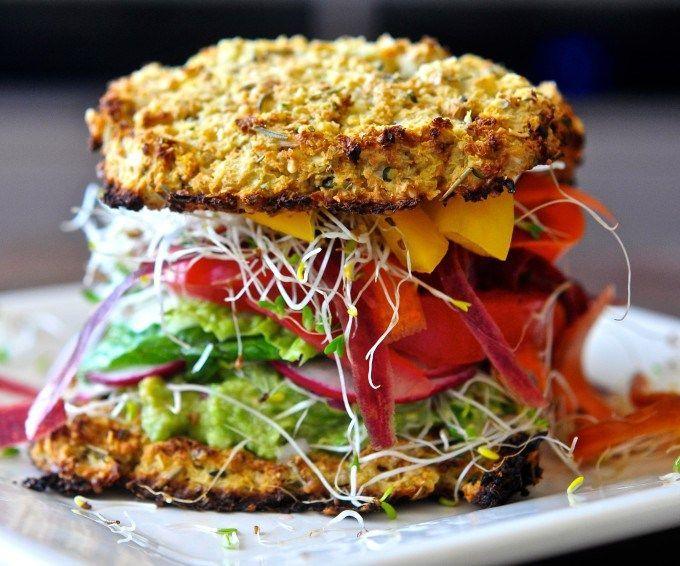 Loaded Cauliflower Bread Veggie Sandwich