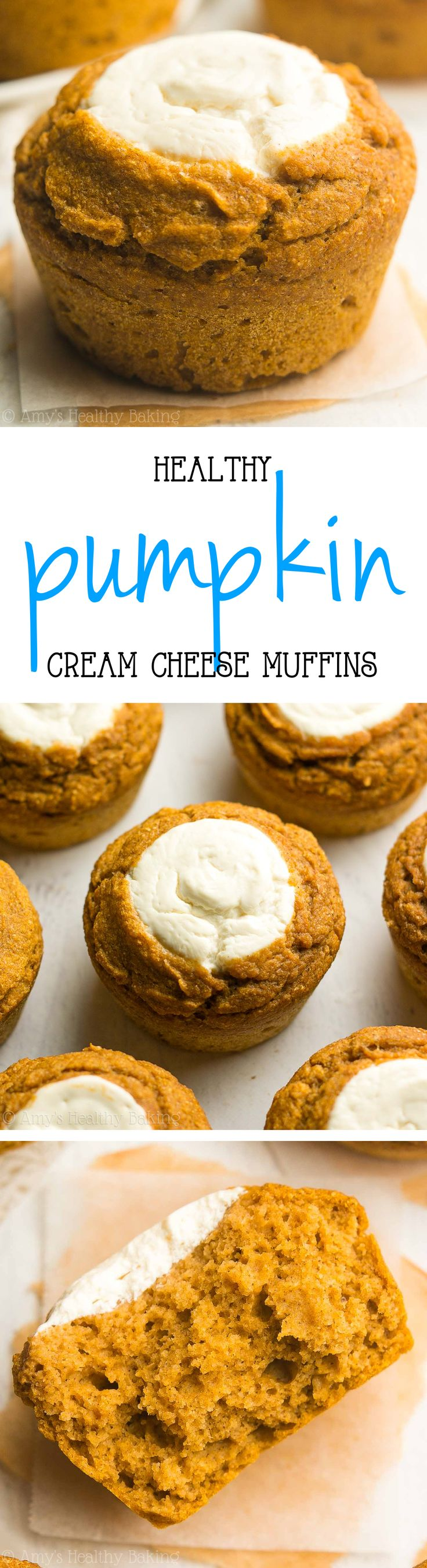 Healthy Pumpkin Cream Cheese Muffins -- a skinny Starbucks copycat recipe! Just 123 calories + over 6g of protein!